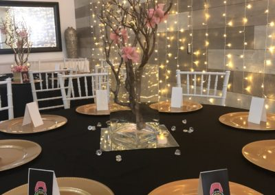Customer Pic. Krewe of Harambee Breast Cancer Event. Linen, Chargers, Centerpiece by Epic. (2)