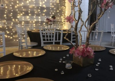 Customer Pic. Krewe of Harambee Breast Cancer Event. Linen, Chargers, Centerpiece by Epic.