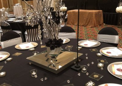 Customer Pic. Linen, Chargers, and centerpiece by Epic.
