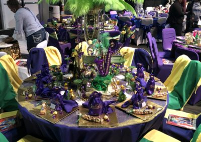 Krewe of Harambee Ball Table setup. Set up _ all products by Epic.