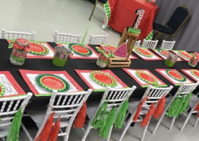 One in a Melon Birthday Party. Customer Pic. Kids Chivalri Chair, Linen, _ Kids Table _ Setup by Epic.